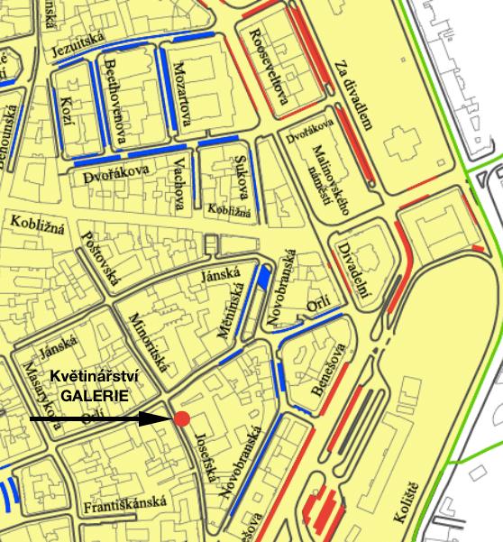 Mapa parkování poblíž květinářství - Brno centrum