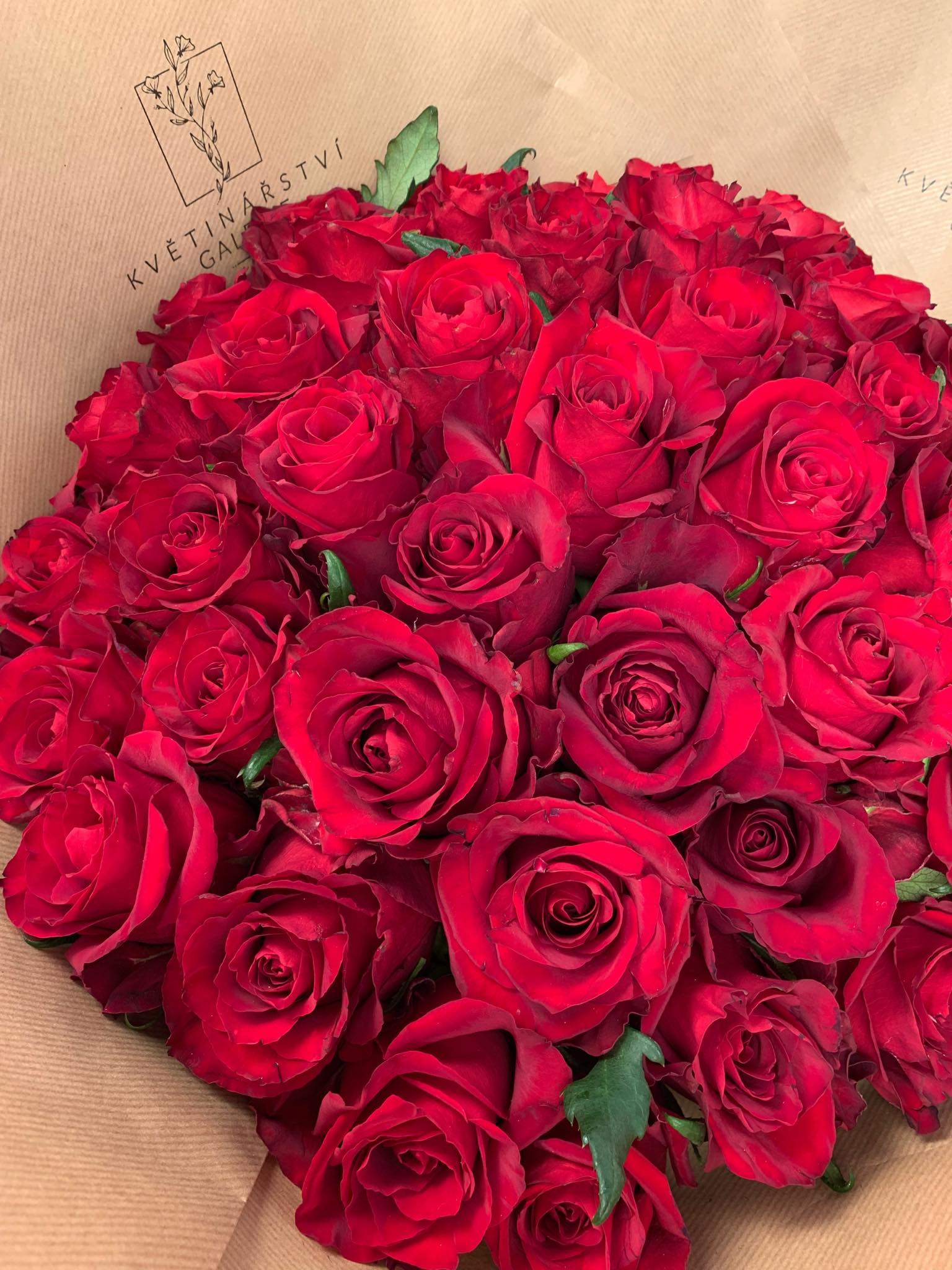 Krásných 50 červených růží z Květinářství GALERIE
