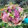 Kytice v růžových odstínech s hortenziemi z Květinářství GALERIE Brno