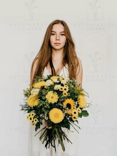 Kytice z květin ve žlutých odstínech - dovoz/rozvoz Brno
