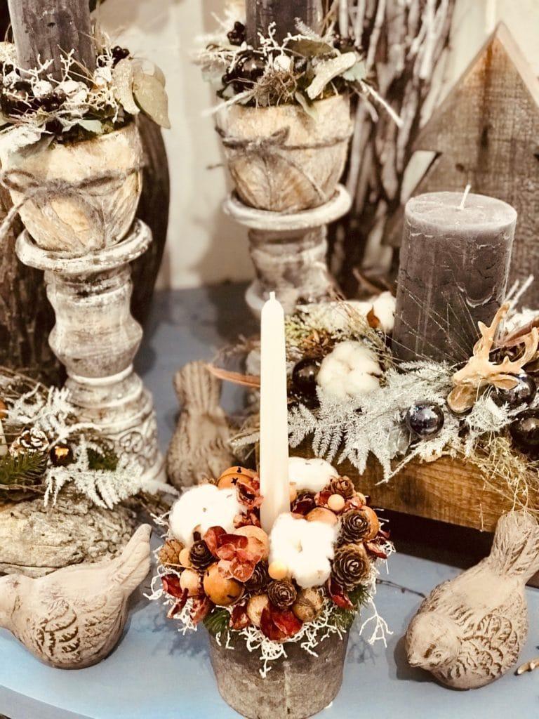 Vánoční sváteční svícny z Květinářství GALERIE Brno